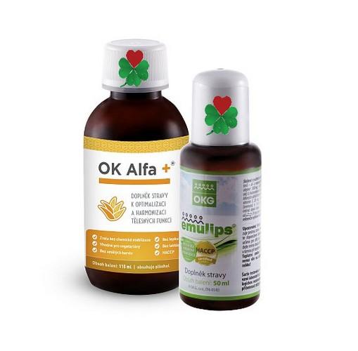 OKG OK Alfa+ Emulips - sada harmonie trávení ( sada obsahuje 1 ks Alfa+ 115 ml, 1 ks Emulips 50 ml )